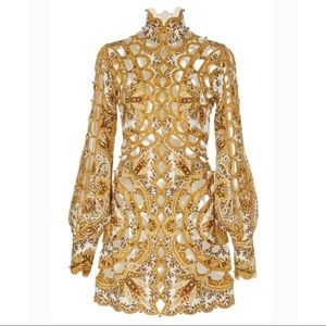 Dresses & Skirts - High Neck Honey Gold Cut Out Balloon Sleeve Mini